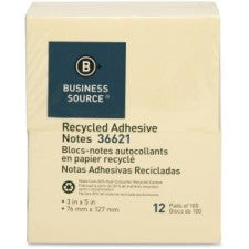 "Business Source Recycled Adhesive Note - 3"" x 5"", Yellow, Self-Adhesive, 12 Pads/ Pack"