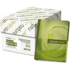 "Nature Saver Copy & Multipurpose Paper - Letter - 8.5"" (215.9 mm) x 11"" (279.4 mm) - 20 lb Basis Weight - Recycled - 50% Recycled Content - 92 Brightness - 5000 / Carton - White"