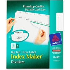 "Avery Big Tab Index Maker Clear Label Divider - 5 x Divider(s) - 5 Tab(s)/Set - 8.50"" Divider Width x 11"" Divider Length - Letter - 3 Hole Punched - White - White - 5 / Set - Office Buggy"