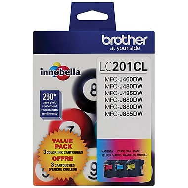 Brother LC201 High Yield Ink Cartridges, Cyan/Magenta/Yellow, 5/Pack (LC2013PKS)