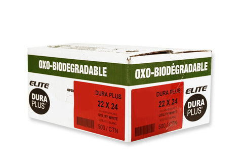 "DURA PLUS Elite 22""x 24"" OXO White/Poly Garbage Bags Cs/500 (Utility)"