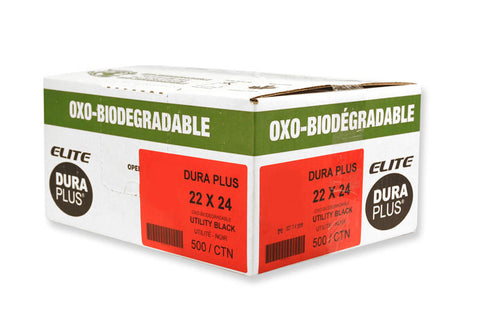 "DURA PLUS Elite 22""x 24"" OXO Black Poly. Garbage Bags Cs/500 (Utility)"