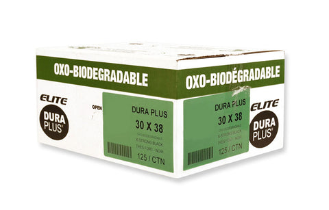 "DURA PLUS Elite 30""x 38"" OXO Black/Poly Garbage Bags Cs/125 (Extra Strong)"