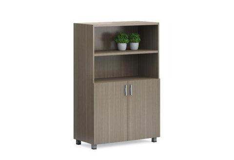 Modern Medium Height Storage Cabinet With 2 Open Shelves
