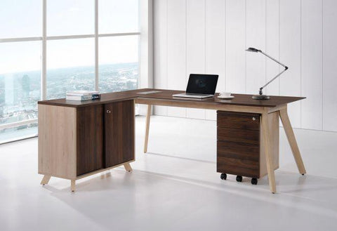Modern L Shape Desk With Sliding Door Cabinet