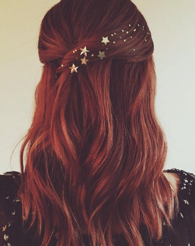 image of half up half down hairstyle with sparkly embellishments