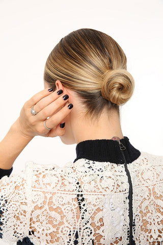 sleek low bun tutorial