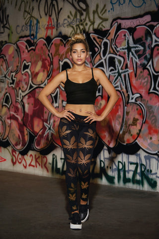 420 - Seamless Fishnet Leaf Legging
