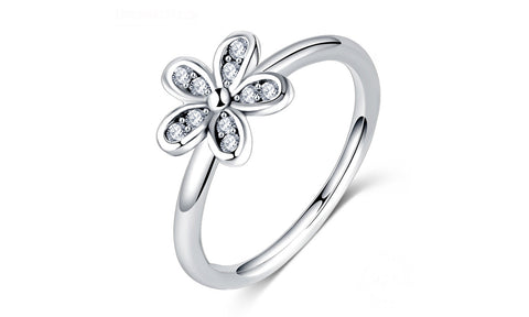 Sterling Silver Zirconia Inlay Daisy Ring