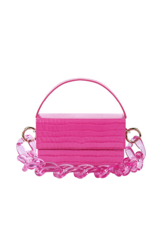 Ida Fuchsia Croc (Medium) with Chain