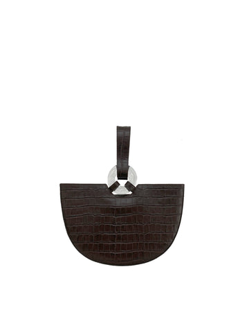 Ela Brown Croc with Clear buckle