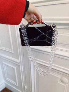 Eugene Black Marble (Silver Hardware) with Chain