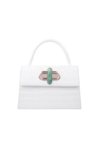 Diba in White w/ African Jade lock