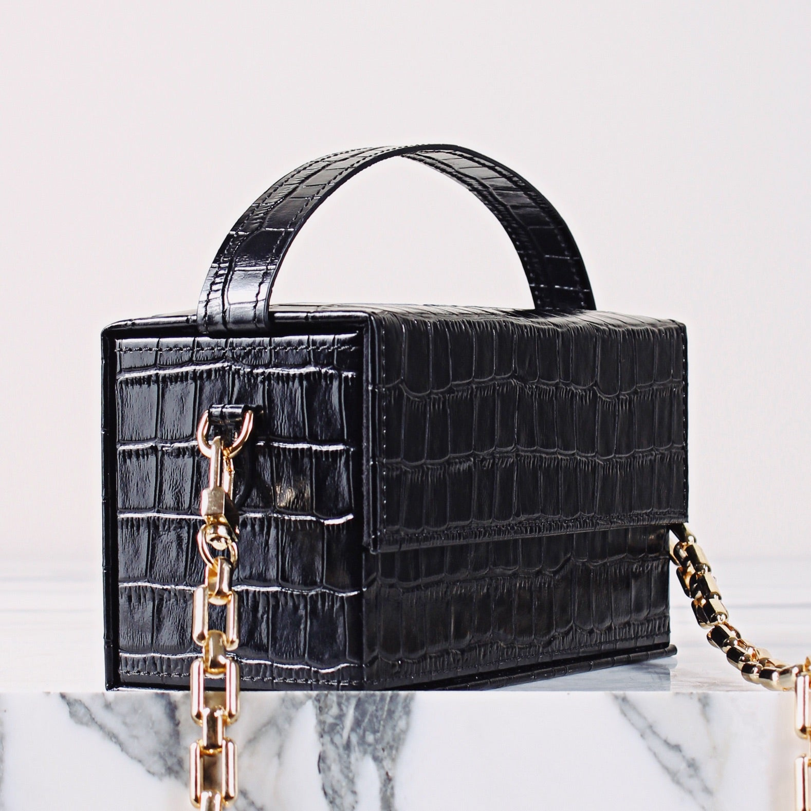 IDA Black Croc (Small) with Chain