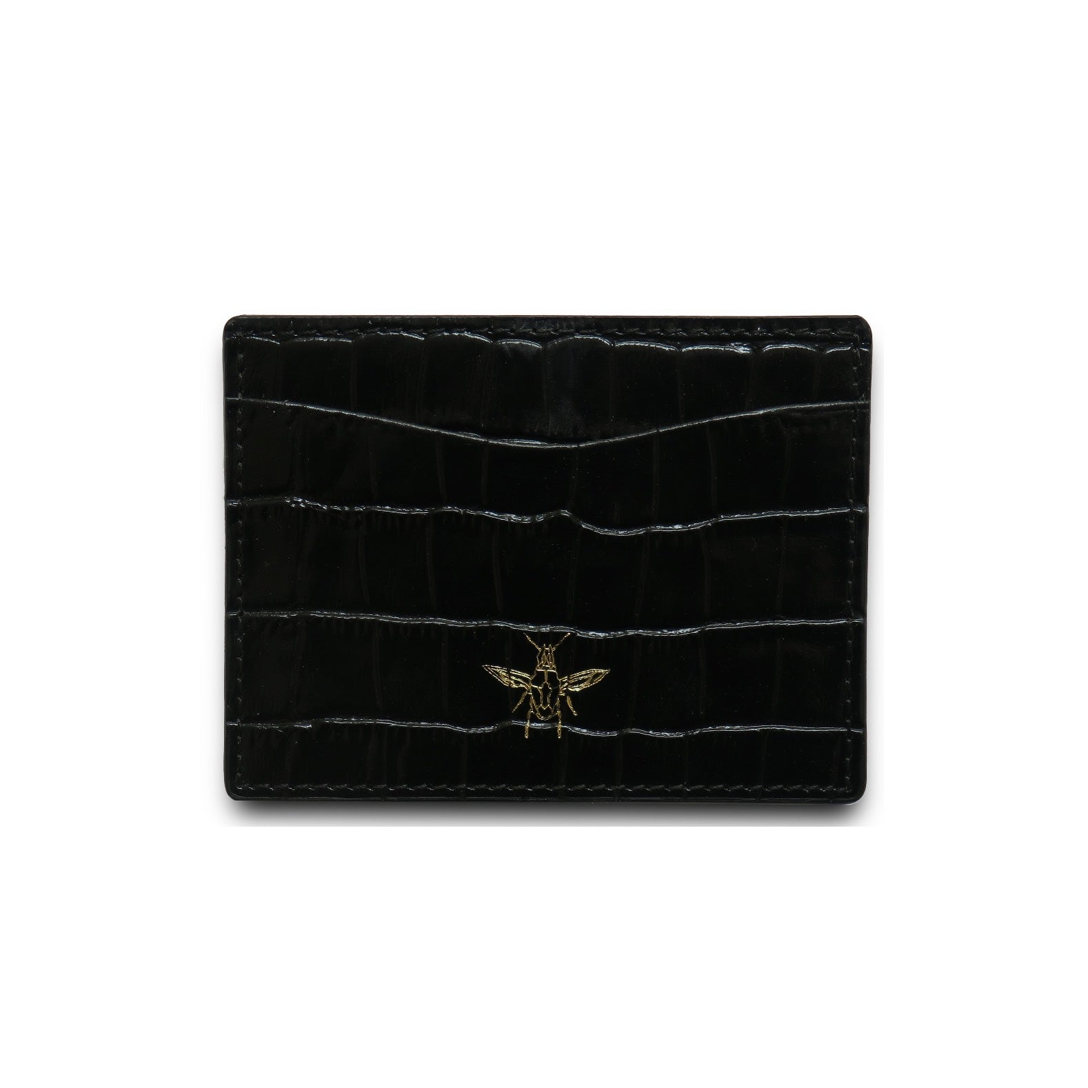 Black Embossed Croc Cardholder