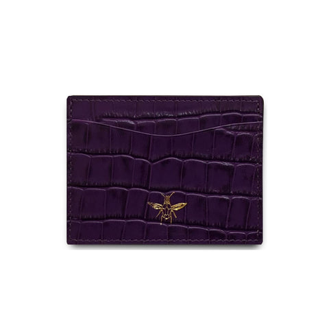 Purple Embossed Croc Cardholder
