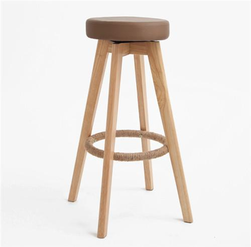 Wooden Swivel Bar Stool Natural Finish Round Leather Foam Seat 29-Inch