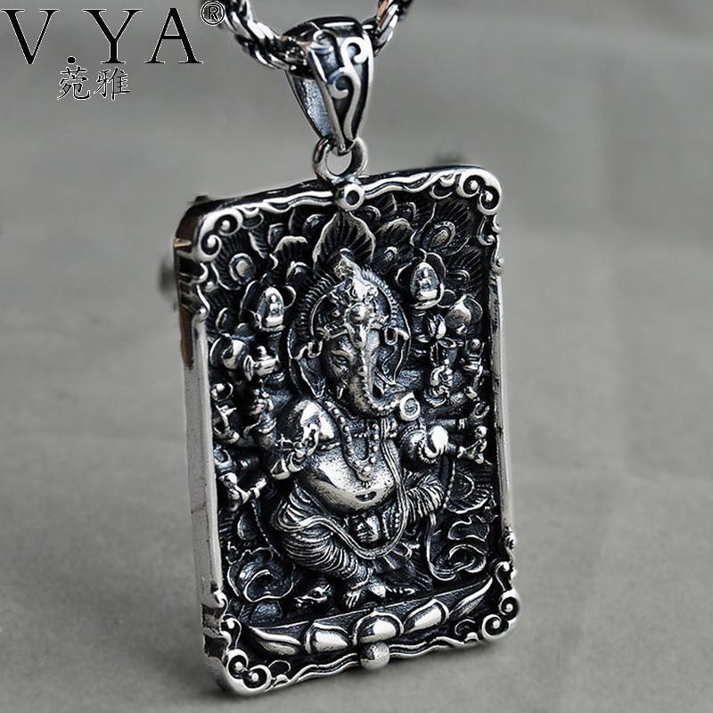 S925 Solid Silver Elephant Pendant for Necklace Men Flat Jewelry 100% Real 925 Sterling Silver Pendant HYP34