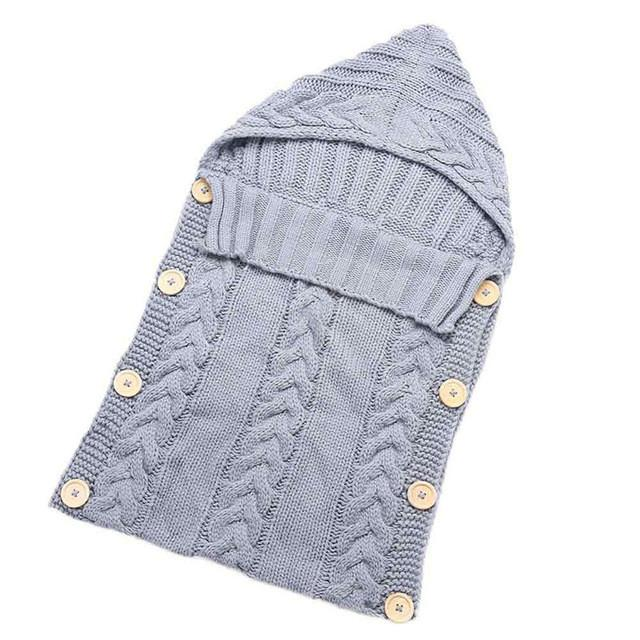 Swaddle Wrap Baby Blanket Envelope for Newborn Infant Girls Boys Knit Crochet Cotton Sleeping Bag Winter Sweater Sleeping Bag