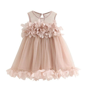 Girls Dresses for Party Wedding 2017 New Mesh Girls Clothes Pink Applique Princess Dress Children Summer Clothes Baby Girl Dress