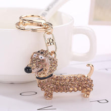 New Crystal Dog Dachshund Keychain Purse Pendant Car Holder Key Ring Nice
