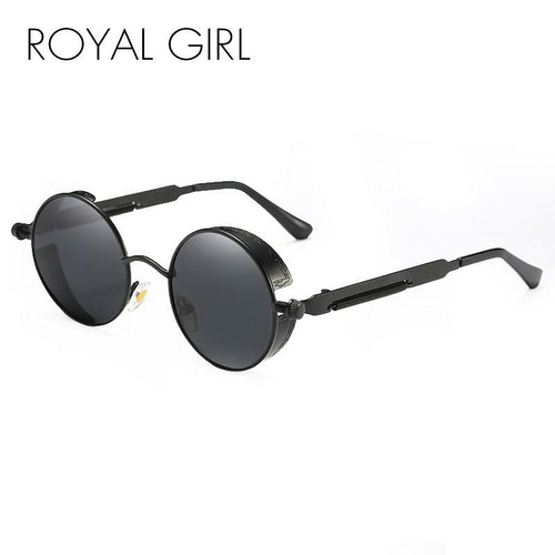 ROYAL GIRL Retro Vintage Steampunk Men Round Sunglasses Coating Mirrored Women Sun Glasses Gafas ss418
