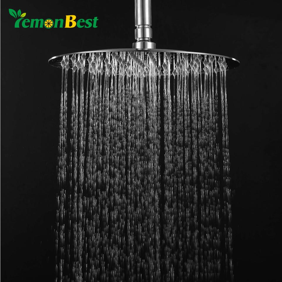 Lemonbest 8 inch Rainfall Shower Head Utral Thin Full 304 Stainless Steel Round