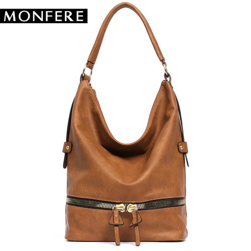 MONFERE large casual HOBO fashion faux leather zipper bag