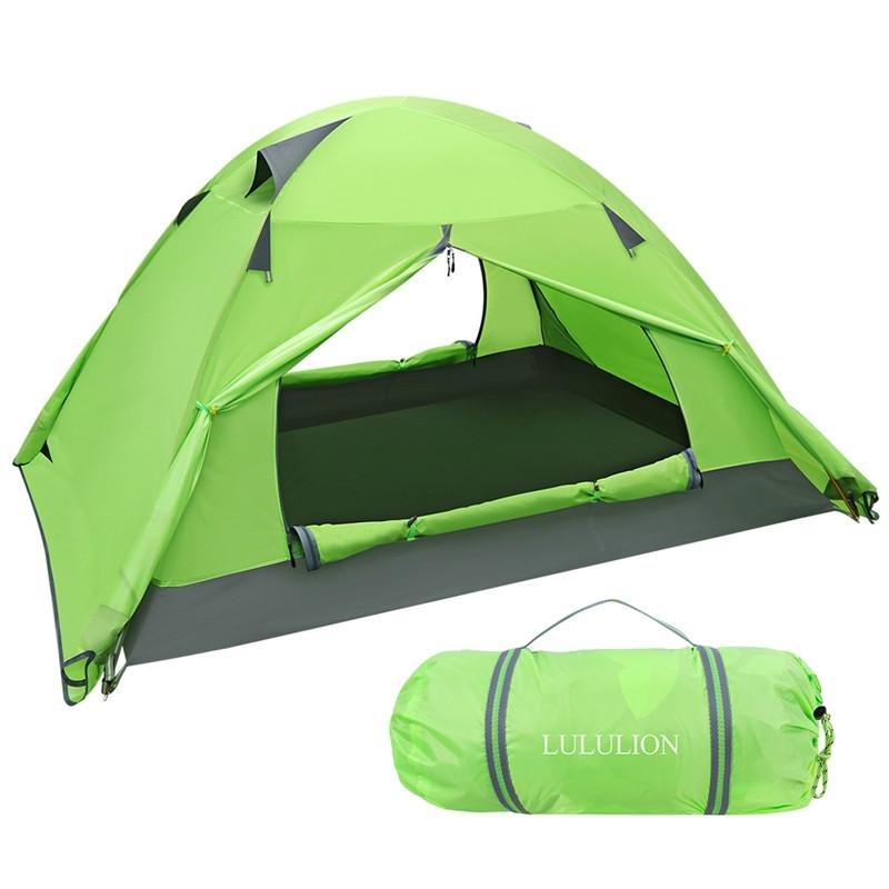 LULULION Waterproof PU Coating Backpacking Tent Two Doors Double Layer Anti-UV with Aluminum Rods for Outdoor Camping 210x150x110CM