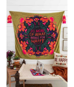 Do More Happy Tapestry Blanket