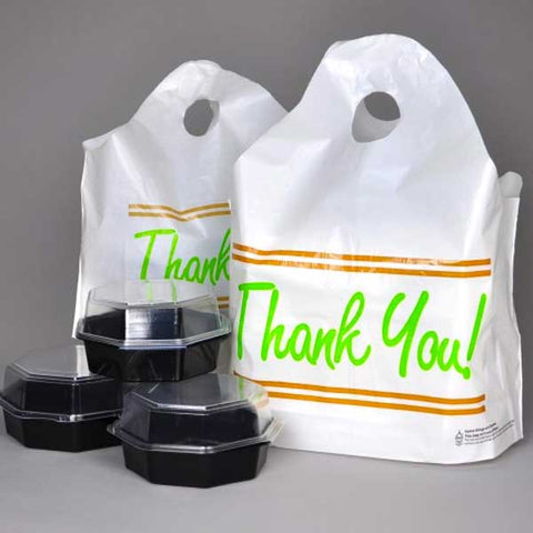 "Take Out Bags: Wave Top Carry Handle Printed ""Thank You"""
