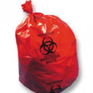 "Red 13 Micron Mil 15 Gal High Density Infectious Waste Liners 24"" x 30"""
