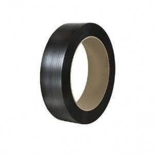 "Black Smooth Polyester Strap - 5/8"" x .030 x 1800 16x3 1100lb Break Strength"