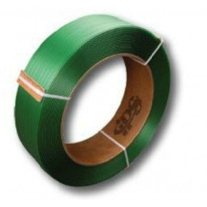 "Double Embossed Green Polyester Strapping - 5/8"" x .035 x 3940 16x6 28cl/sk"