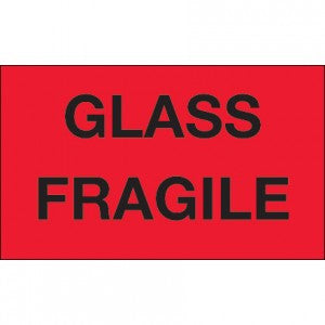 "3"" x 5"" ""Glass Fragile"" Fluorescent Red Labels 500 per roll"