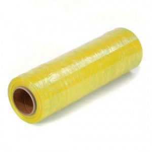 "15"" x 1500' Yellow Handwrap on 3 inch Core Identi-Film Color Stretch Film"