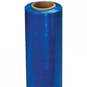 "20"" x 80 Gauge x 1000' Blue Extended Core Identi-Film Color Stretch Film"