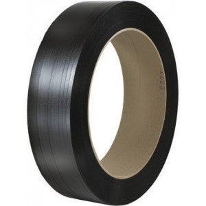 "Black Embossed Machine Grade Polypropylene Strapping - 1/2"" x 7200 9x8 24 CL/S"
