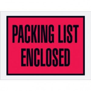"4-1/2"" x 6"" Full Face Red ""Packing List Enclosed"" 1000 per case"
