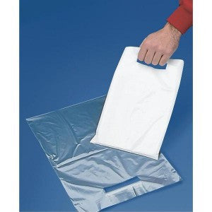 "12"" x 15"" 2 Mil White Poly Bag W/Die Cut Handle - Poly Bags and Supplies The Packaging Group"