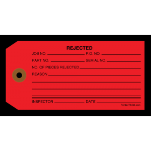 "4-3/4"" x 2-3/8"" 13 Pt #5 ""Rejected"" Red Tag  W/Reinforced Grommet 1m per case"
