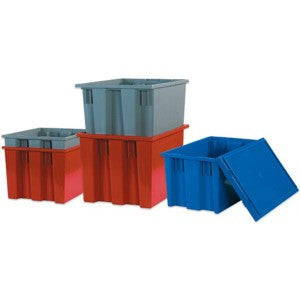 20 7/8 x 18 1/4 x 9 7/8 Red Stack & Nest Container