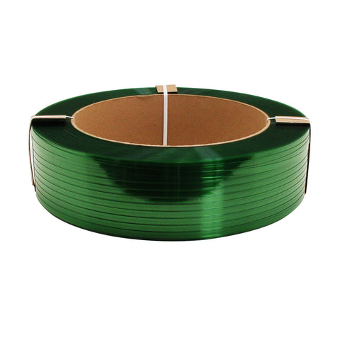 Green Polyester Strap - 1/2 inch x .028 x 6500 16x6 820lb Break Strength