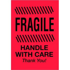 "4"" x 6"" Fragile - Handle With Care - Thank You Label"
