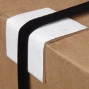 "2"" x 2"" x 2-1/2"" Plastic White Edge Protector 1000 per case CP-125A - Edge Protectors The Packaging Group"