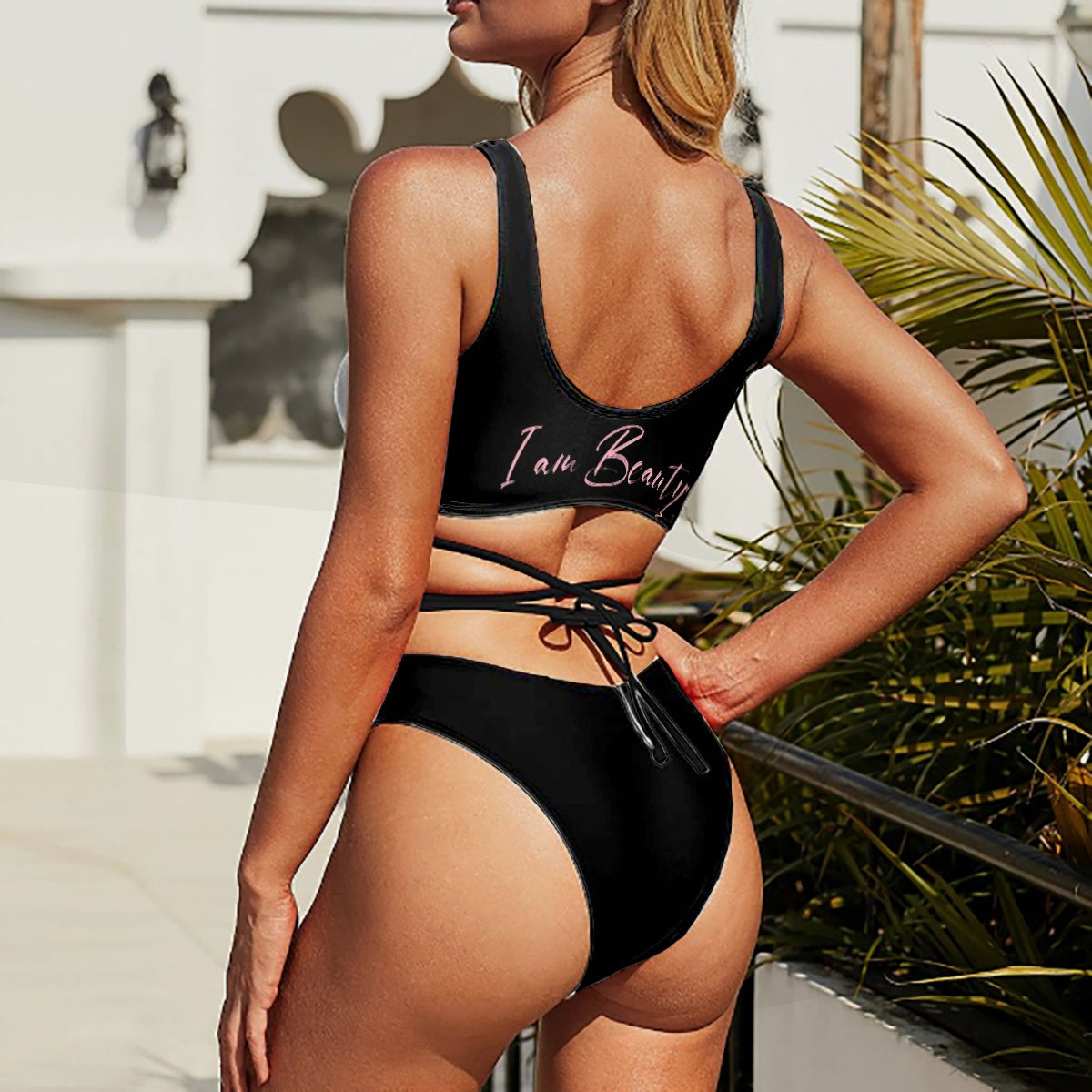 Two-piece Swimsuit with Crossover Strips