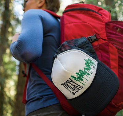 Forest Trucker hat backpacking