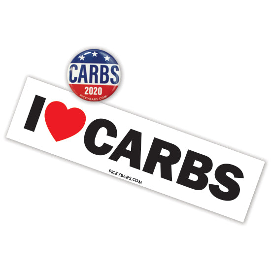 I Love Carbs Button+Sticker