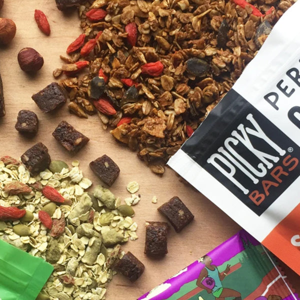 Picky granola and bars on a table from above