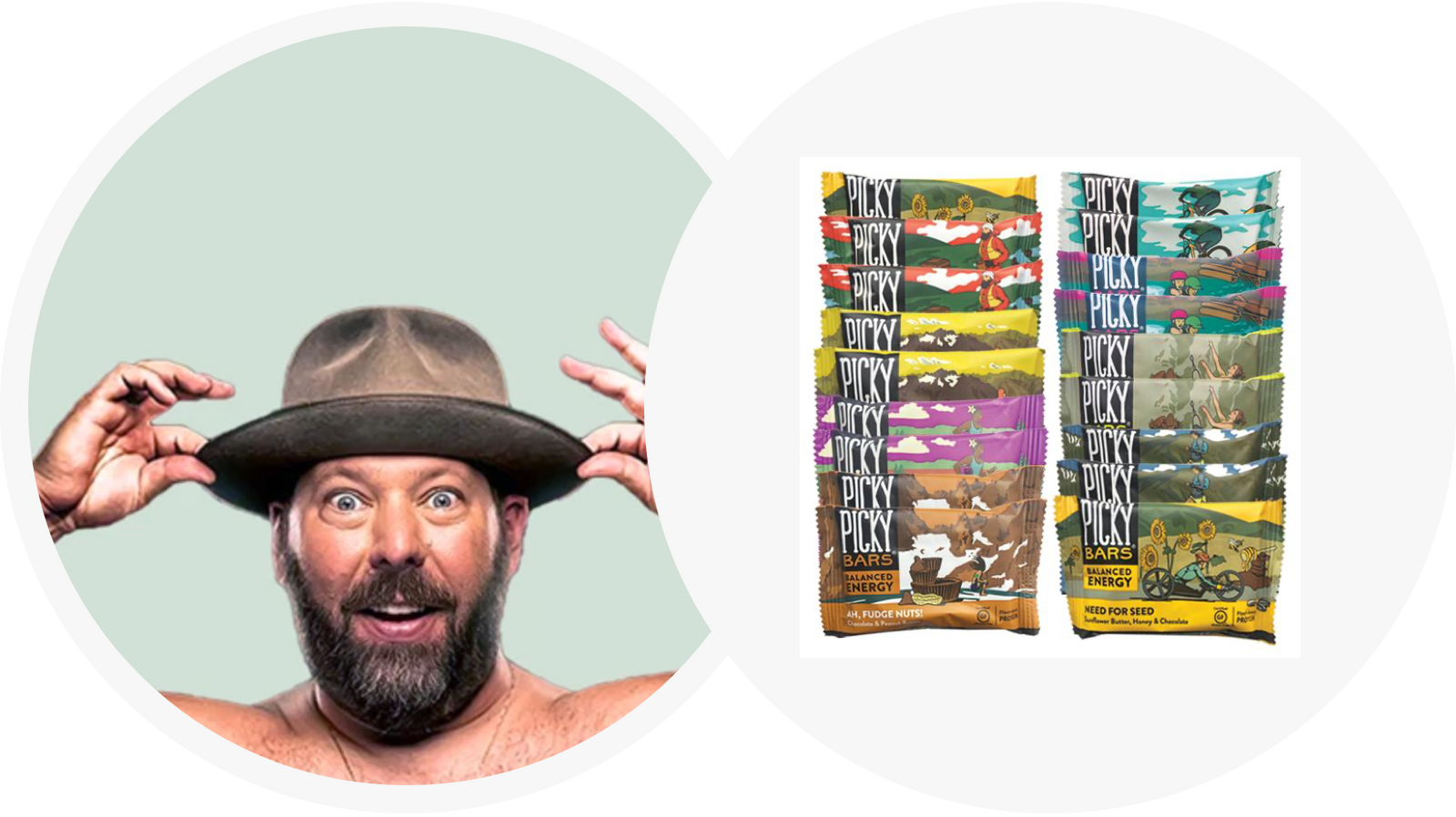 Bert Kreischer wearing a wide-brimmed hat with a surpised expression, and an array of Picky Bars